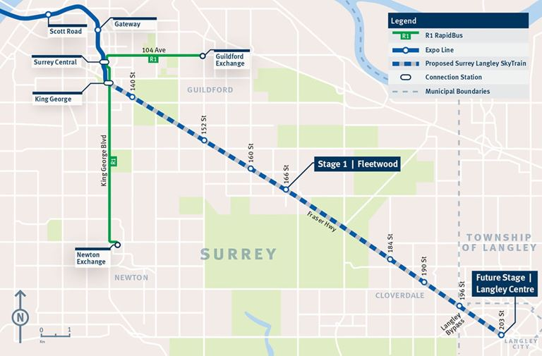 The Surrey-Langley SkyTrain will extend the Expo Line from Surrey's King George station along Fraser Highway down to Langley Centre. (Courtesy: surreylangleyskytrain.ca) (Skytrain photo credit: Railway Age)